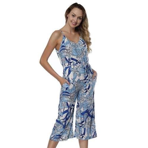 a0e25ffa1f Macacão Feminino Verão Balada Perna Alta Azul Tropical - Shop Perez
