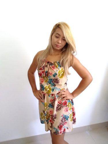 Vestido Floral Solto Verão Moda Com Alça De Tiras Corda