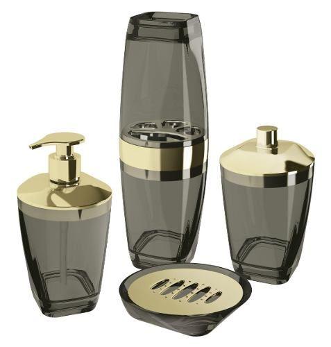 Kit Higiene Premium Preto Dourado De Plástico Uz - 4 Peças