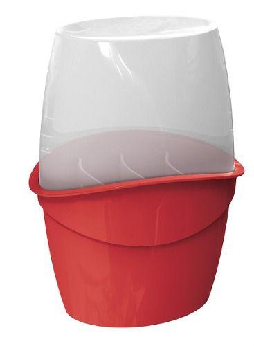 Porta Talheres Com Tampa Vermelho Solido De Plástico Uz