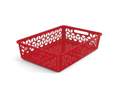 Cesto Organizador Raso Vermelho Solido De Plástico Uz