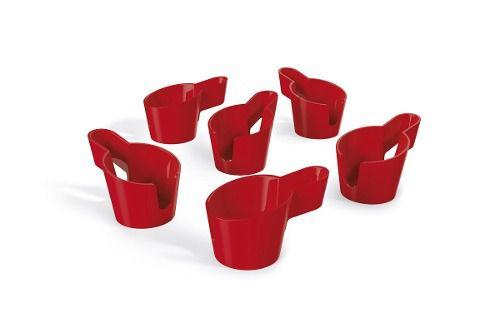 Kit 6 Porta Cafezinhos 50ml Vermelho Solido De Plástico Uz