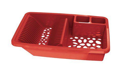 Escorredor De Louca Vazado Vermelho Solido De Plástico Uz