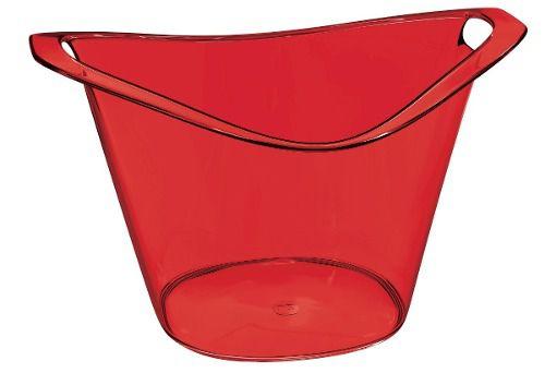 Balde De Gelo Gold 3l Vermelho Translucido De Plástico Uz