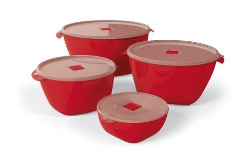 Kit 4 Multiuso Premium Vermelho Solido De Plastico Uz