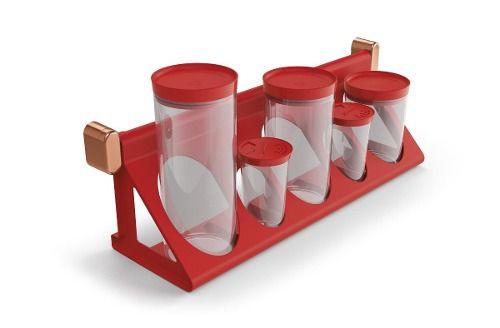 Suporte Porta-condimentos Vermelho Solido De Plastico Uz