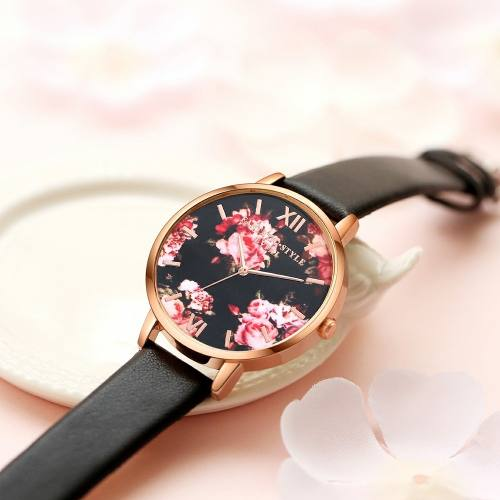 Relógio Feminino Pulseira De Couro Quartzo Rosas E Dourado