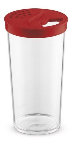 Farinheiro G Transparente Com Tampa Vermelha de Plástico UZ