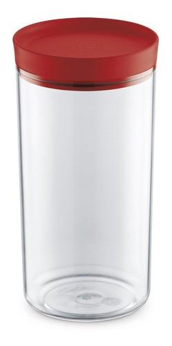 Porta Mantimentos 1,9L Transparente Com Tampa Vermelha UZ