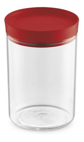 Porta Mantimentos 1,4L Transparente Com Tampa Vermelha UZ