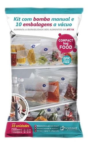 Kit 10 Sacos A Vácuo Compact Food + Bomba Manual - Paramount