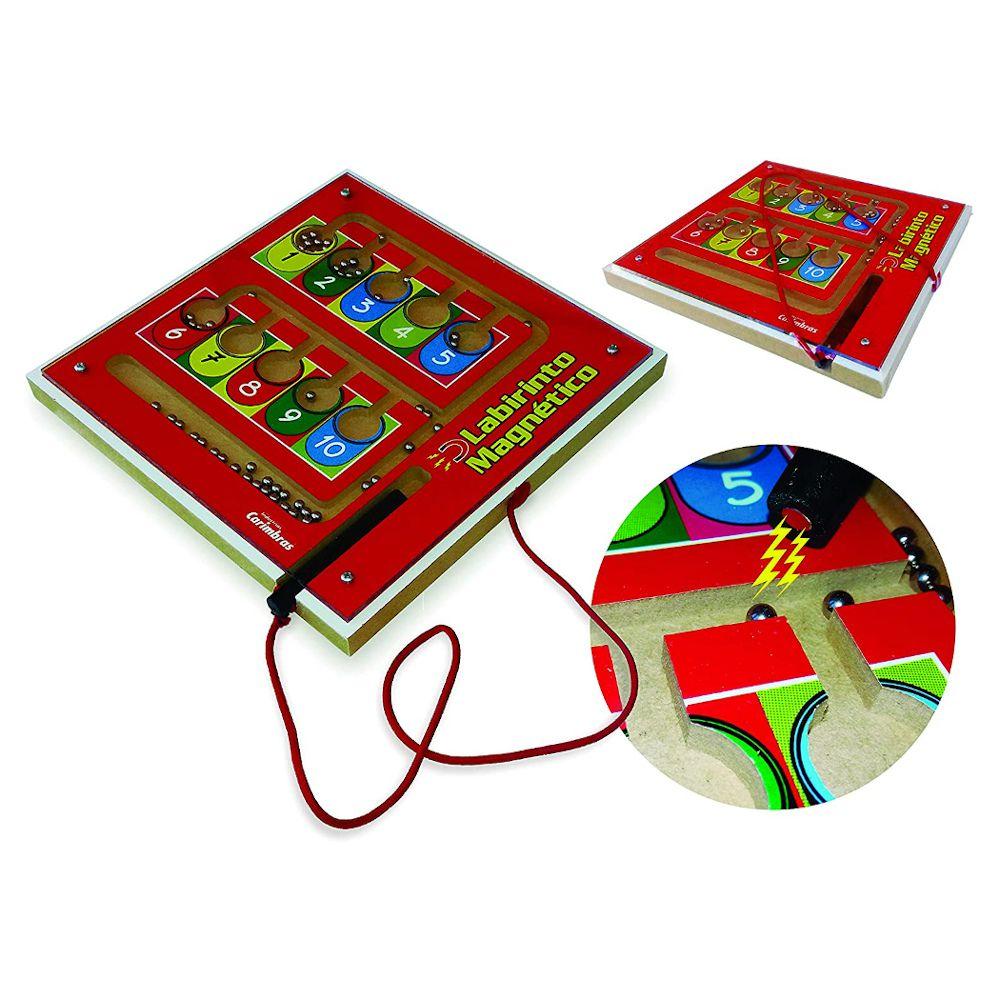 Brinquedos Educativos 3 A 6 Anos Madeira Labirinto Magnético