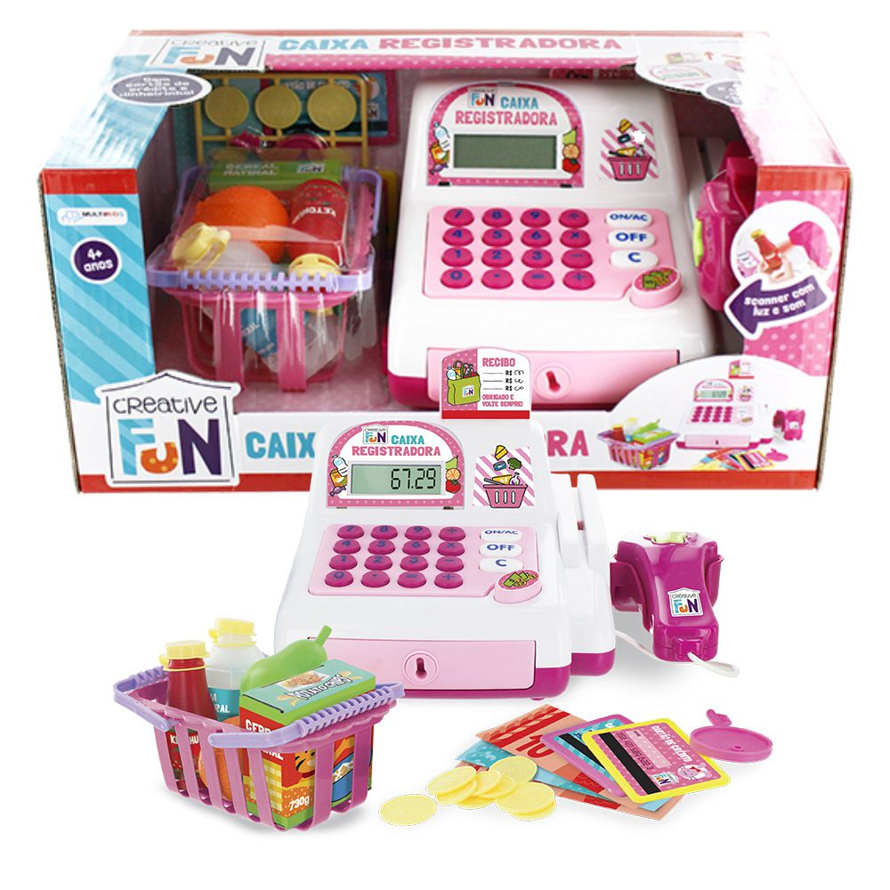 Caixa Registradora Infantil CreativeFun Rosa Multikids BR387