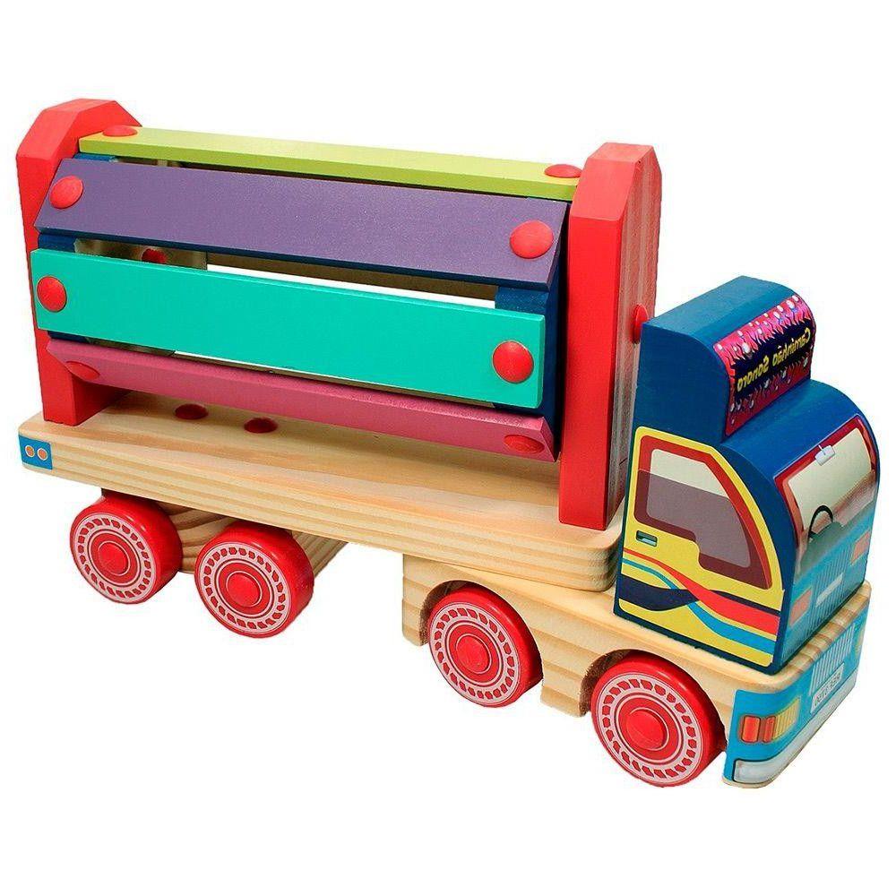 Caminhão de Madeira de Brinquedo Infantil Carimbras 3750