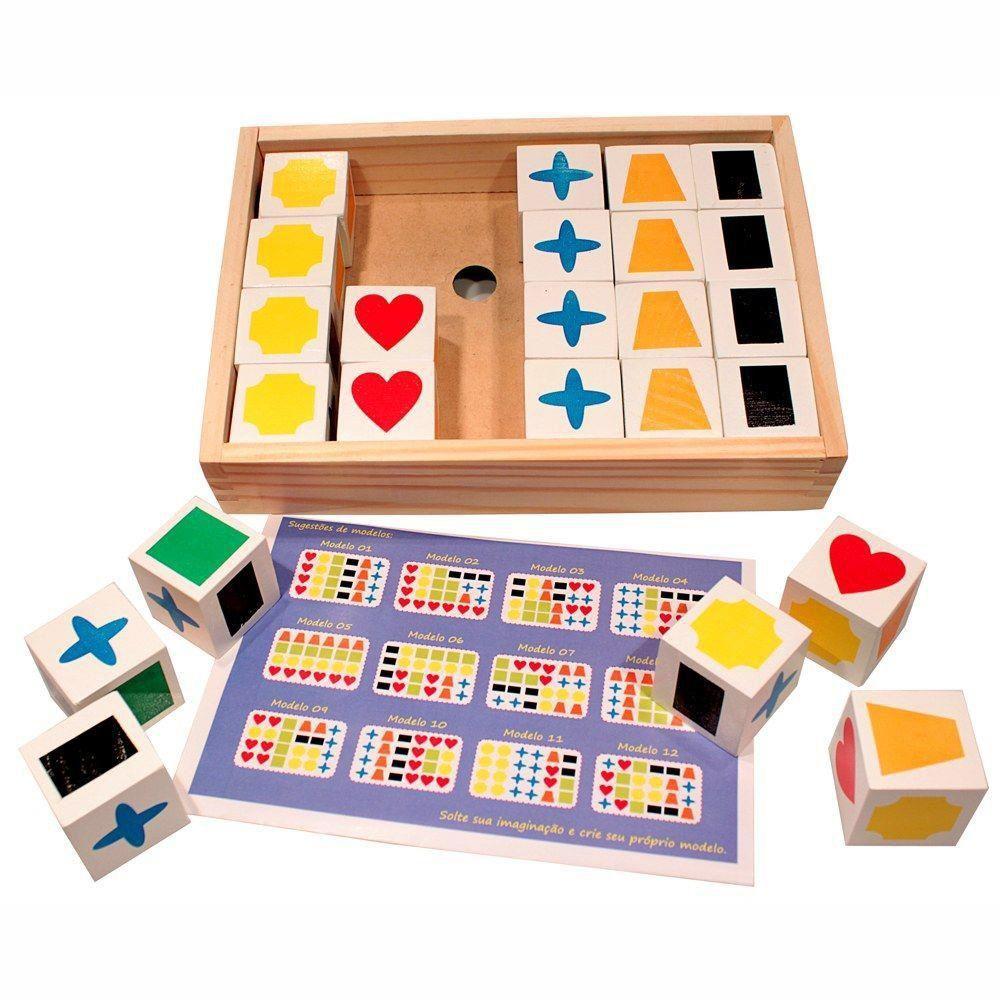 Jogo de Memória Educativo Cubos Para Atividade Método Teacch