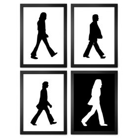 JOGO COM 4 QUADROS DECORATIVOS ABBEY ROAD | THE BEATLES