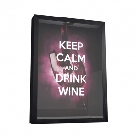 QUADRO PORTA ROLHAS - KEEP CALM AND DRINK WINE