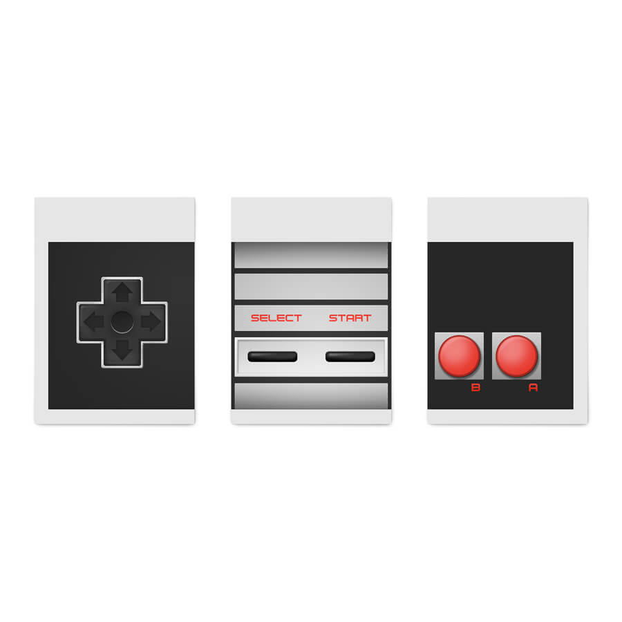 JOGO COM 3 QUADROS DECORATIVOS CONTROLE NES  - Pôster no Quadro