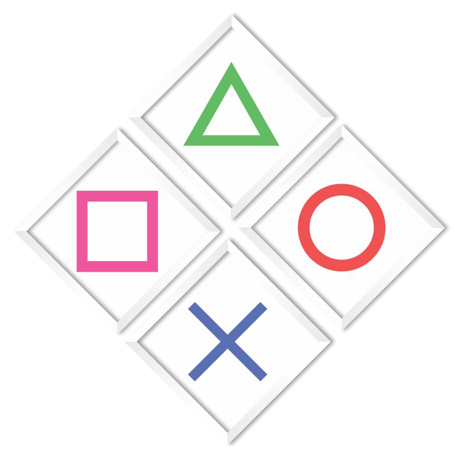 JOGO COM 4 QUADROS PLAYSTATION  - Pôster no Quadro