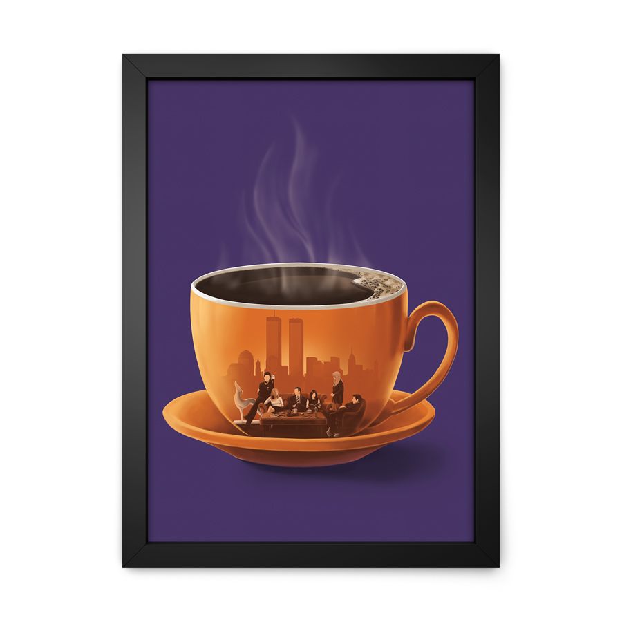 QUADRO DECORATIVO FRIENDS | COFFEE  - Pôster no Quadro