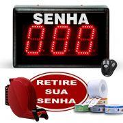 Kit Painel de Senha Jumbo c/ Dispensador de Senhas +2 Controles