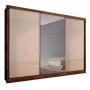 Guarda Roupa Casal Com Espelho 3 Portas 6 Gavetas Natus Novo Horizonte Canela Off White