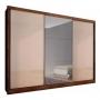 Guarda Roupa Casal com Espelho 3 Portas 8 Gavetas Natus Novo Horizonte Canela Off White
