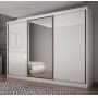 Guarda Roupa Casal Com Espelho 3 Portas 8 Gavetas Spazzio Novo Horizonte Branco