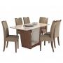 Sala de Jantar 6 Cadeiras Apogeu Móveis Lopas Imbuia Naturale/Suede Animale Bege