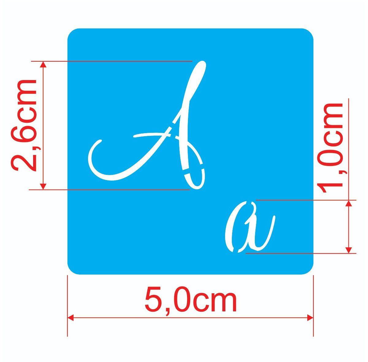 Stencil Molde Vazado Abecedario Com Letras E Numeros 5 X 5cm