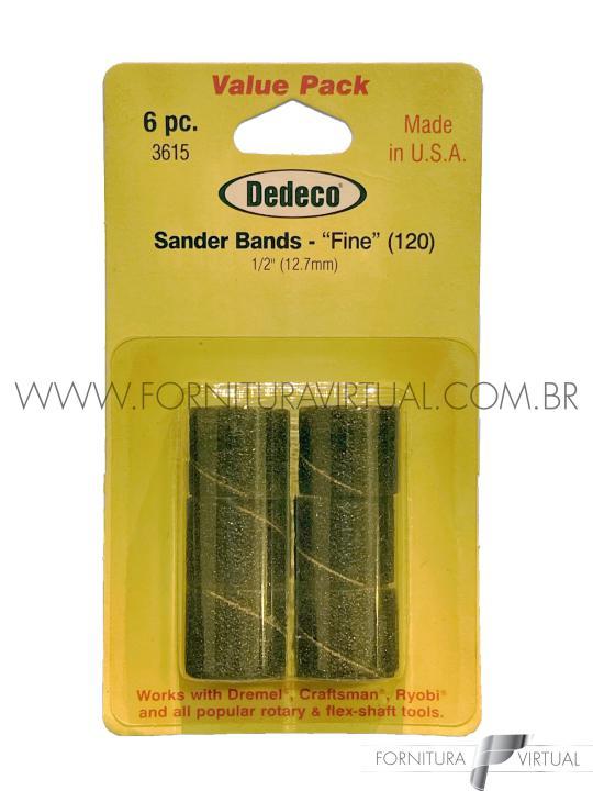 """Bandas de lixa Dedeco - grão 120 - 1/2"""" (12.7mm) - Kit com 6 unidades"""