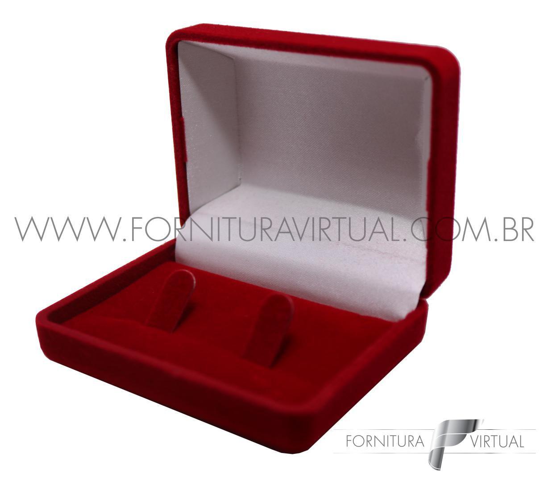 Box com 24 Caixinhas de Veludo para Alianças - Retângular Vermelha com presilha