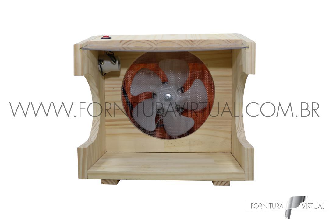 Cabine de madeira com exaustor