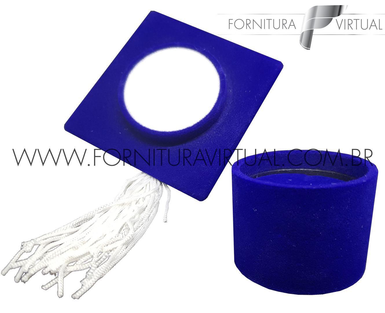 Caixinha de Veludo para Anel de Formatura - Chapéu Azul - Capelo - 73796