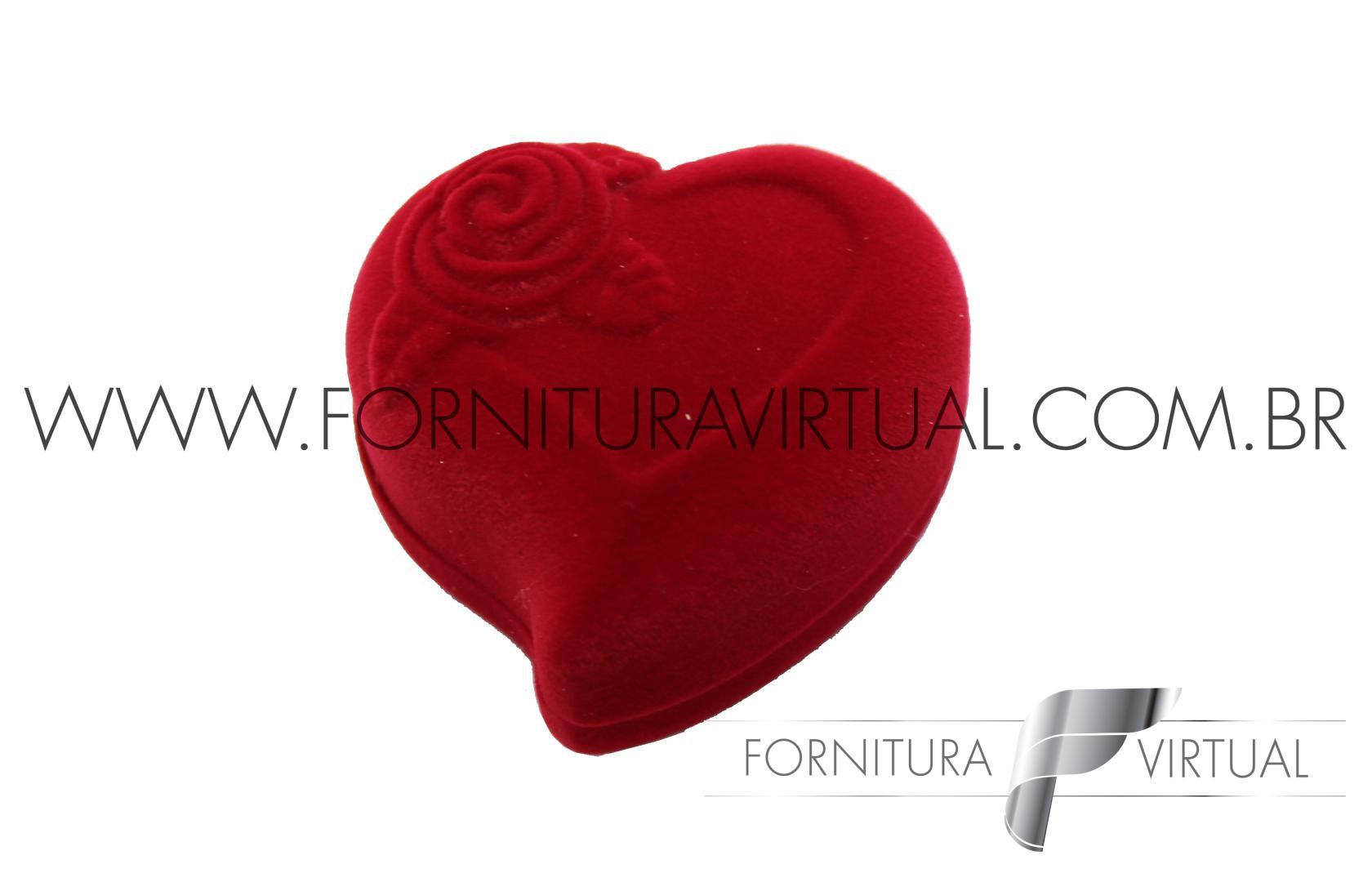Caixinha de Veludo para Alianças - Coração Vermelho 71907