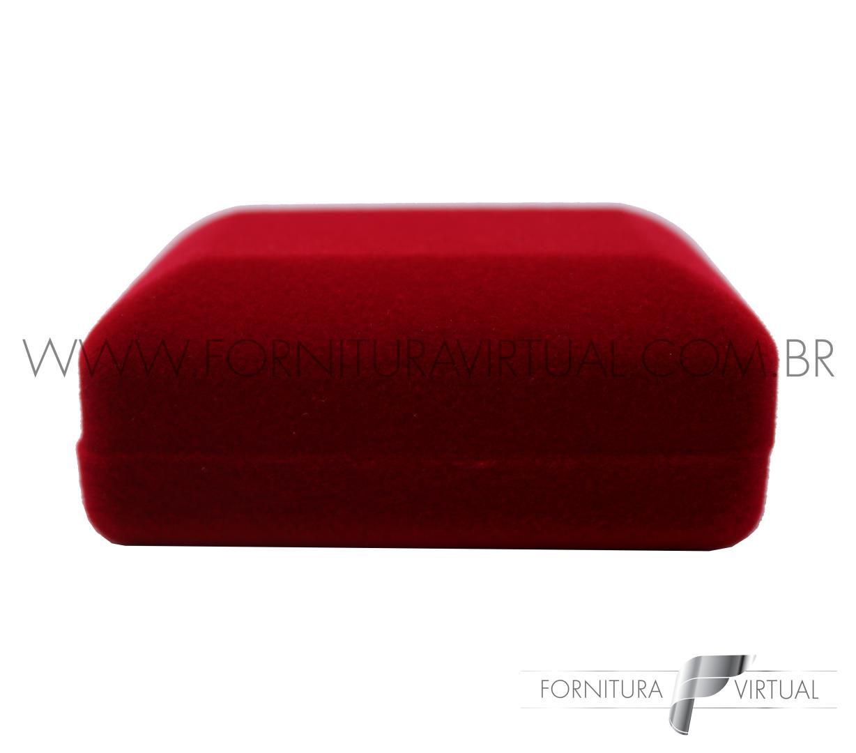 Caixinha de Veludo para Alianças - Retângular Vermelha c/ Presilha - 61884