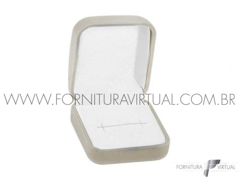 Caixinha de Veludo Cinza para Anel - 84480