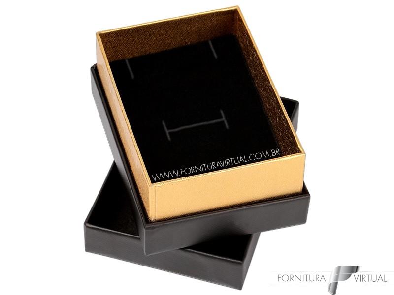 Caixinha/Estojo Preta/Dourada para Anel e Brincos(Universal) - 69969 - Linha Lofty