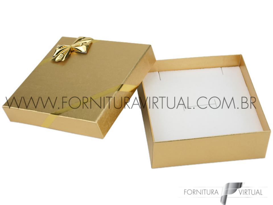 Caixinha Laminada Dourada para Conjunto M - 67045