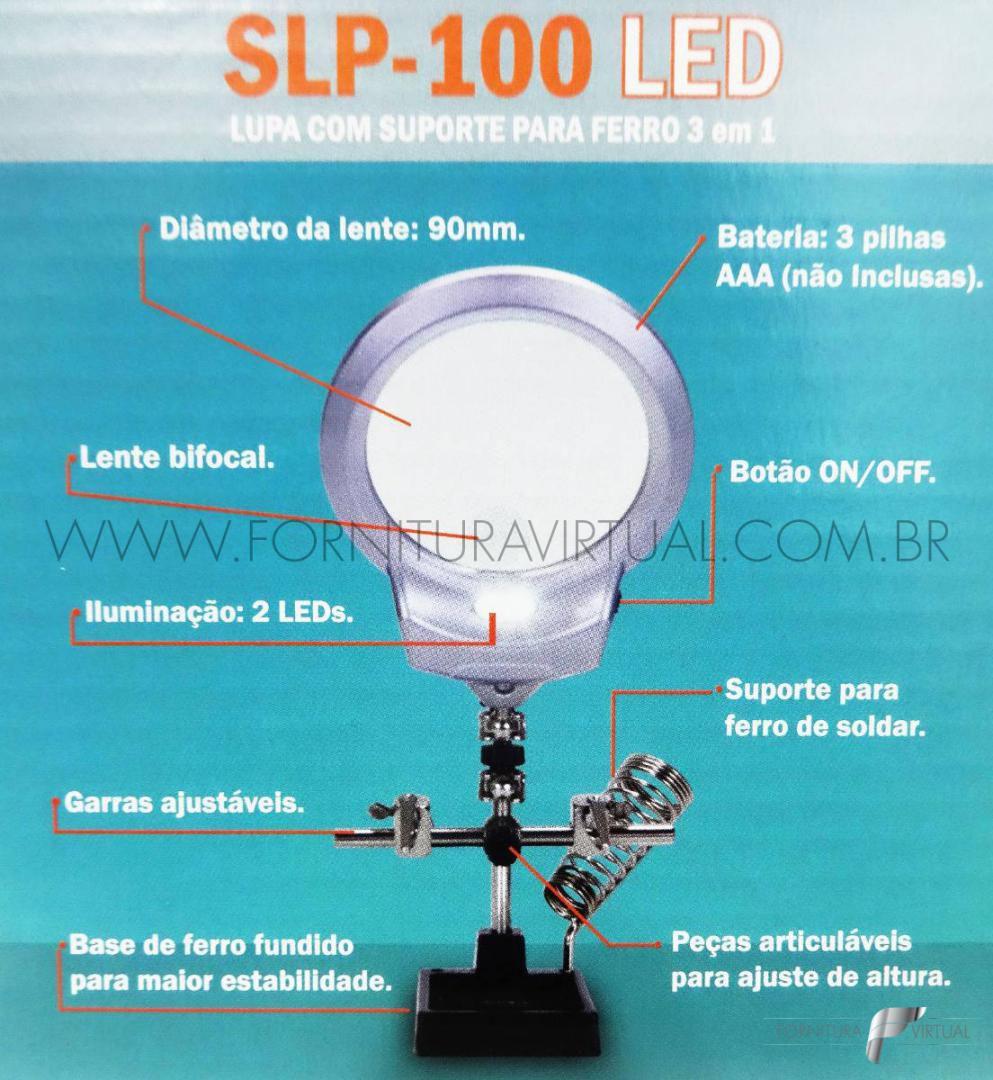 Lupa com Suporte Terceira Mão e Iluminação em LED Aumento 3D e 8D - Solver SLP-100
