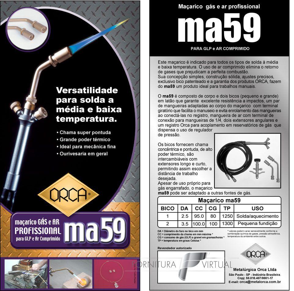 Maçarico Orca MA59 - Gás GLP e Ar Comprimido