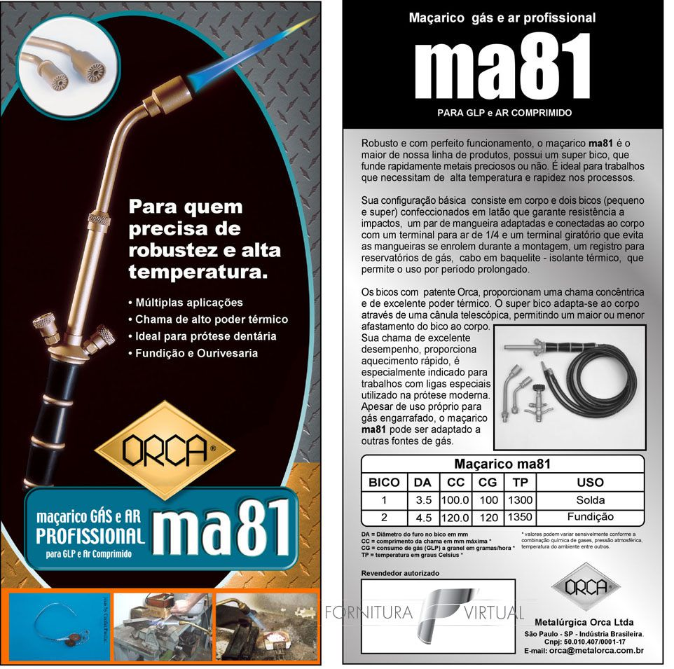 Maçarico Orca MA81 - Gás GLP e Ar Comprimido