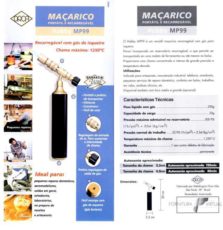 Maçarico Orca Portátil Hobby MP99