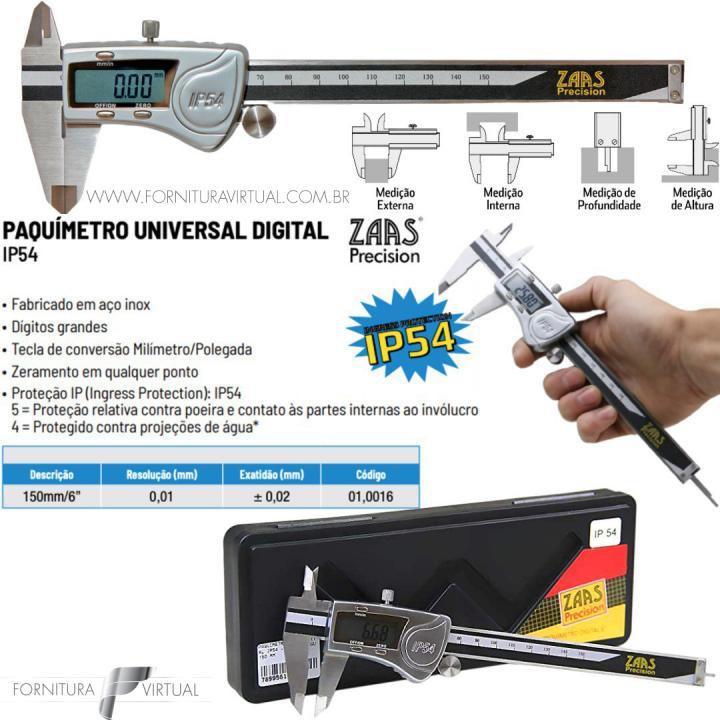 Paquímetro de aço digital universal IP54 a Prova D água 150mm - ZAAS