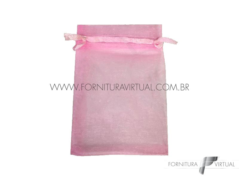 Saquinho de Organza Rosa M (10 unidades) - 77418