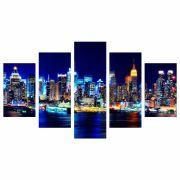 Conjunto de 5 quadros decorativos em Canvas - Cidade