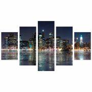 Conjunto de 5 quadros decorativos em Canvas - Luzes da cidade