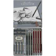 Estojo para desenho 15 peças Silver box 400 18 - Cretacolor