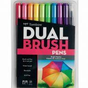 Kit Canetas-pincéis Brilhantes Dual Brush c/10 peças Mod.56185 - Tombow