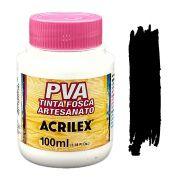 Tinta PVA fosca 100ml Acrilex - 520 Preto